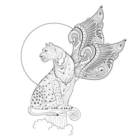 Illustration of magic fairyland griffin from ancient legend. Mythological warlike animal with wings. Black and white page for coloring book. Print for logo or tattoo. Sheet for drawing and meditation.