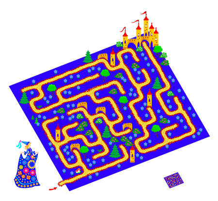Logic puzzle game with labyrinth for children and adults. Help the princess find the way to the castle. Worksheet for kids brain teaser book. Play online. Flat cartoon illustration. Maze for kids.