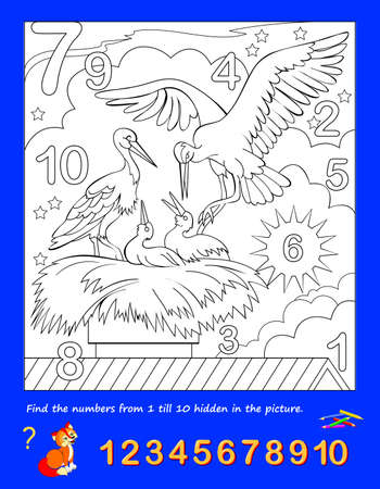 Math education for little children. Coloring book. Logic puzzle game. Find the numbers from 1 to 10 hidden in the picture and paint them. Developing counting skills. IQ test. Worksheet for kids.