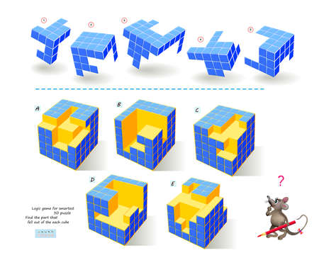 Logic game for smartest. Find the part that fell out of the each cube. Printable page for brain teaser book. 3D puzzle. Brain teaser book. IQ test. Play online. Developing spatial thinking skills. Ilustração