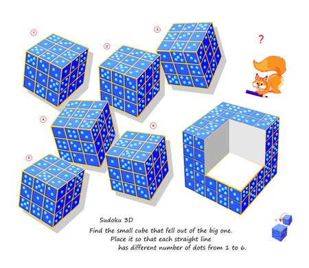Logic puzzle game for smartest. Find the small cube that fell out of the big one. Place it so that each straight line has different number of dots from 1 to 6. Sudoku 3D. Developing spatial thinking.