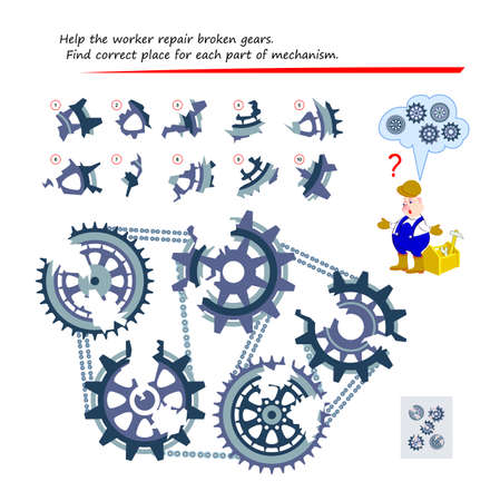 Logic puzzle game for children and adults. Help the worker repair broken gears. Find correct place for each part of mechanism. Page for kids brain teaser book. Play online.
