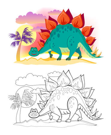 Colorful and black and white page for coloring book. Illustration of cute stegosaurus. Printable worksheet for children exercise book. Online education. Clip-art cartoon vector. Animals for kids.