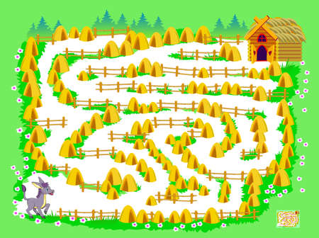 Logic puzzle game with labyrinth for little children. Help the donkey find the way to his house. Worksheet for kids brain teaser book. Play online. Vector cartoon illustration. Maze for kids.