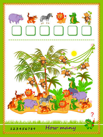 Math education for children. How many farm animals can you find? Count quantity and write the numbers. Developing counting skills. Logic puzzle game. Worksheet for kids school textbook. Play online. Иллюстрация
