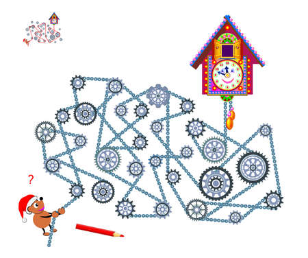 Logic puzzle game with labyrinth for children and adults. Help the bear to start the clock. Find the way between gears. Worksheet for kids brain teaser book. Play online. Maze in steampunk style.