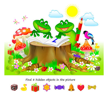 Logic puzzle game for kids. Find 8 hidden objects in the picture. Educational page for children. Developing counting skills. Play online. IQ test. Task for attentiveness. Cartoon vector illustration.