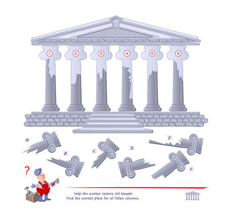 Logic puzzle game for children and adults. Help the worker restore old temple. Find the correct place for all fallen columns. Printable page for kids brain teaser book. Developing spatial thinking.