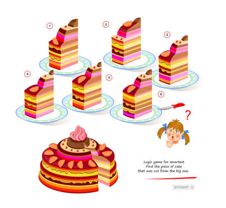 Logic game for smartest. Find the piece of cake that was cut from the big one. Printable page for brain teaser book. 3D puzzle. Brainteaser book. IQ test. Play online. Developing spatial thinking.