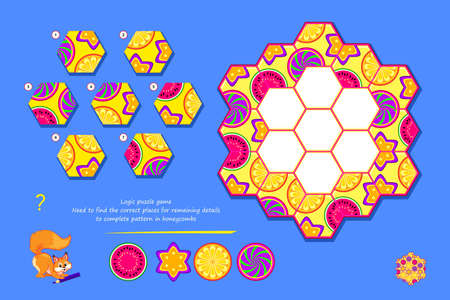 Logic puzzle game for children and adults. Find correct places for remaining details to complete pattern in honeycombs. Page for kids brain teaser book. Developing spatial thinking. Play online.