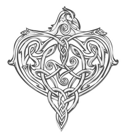 Fantasy drawing of ancient Nordic legendary bird. Imaginary creation ornate with Celtic disk ornament and triple spiral symbol. Print for logo, icon, fabric, tattoo, jewelry, decoration.