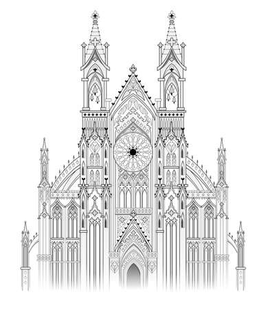 Drawing of fantasy castle. Gothic architectural style. Medieval architecture in Western Europe. Black and white page for coloring book. Worksheet for children and adults. Christian cathedral. Vektorgrafik