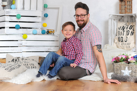 Family. Adorable kid and his father Stock Photo
