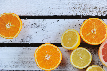 c to c: Citrus. Delicious lemon and grapefruit on the table Stock Photo