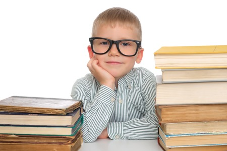 Education. Adorable kid with books photo