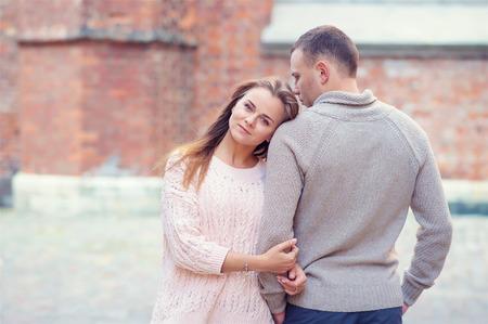 love hug: Lovely couple on the street