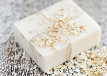 Havermout Soap handgemaakte voor een natuurlijk schoon Stockfoto