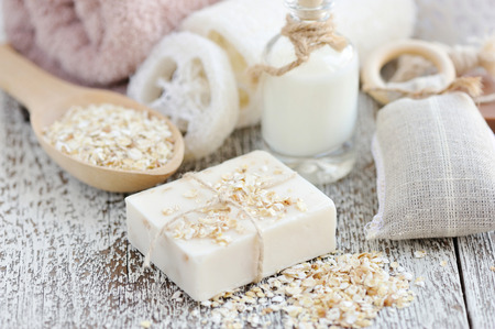 Handmade soap with oatmeal and milk 写真素材