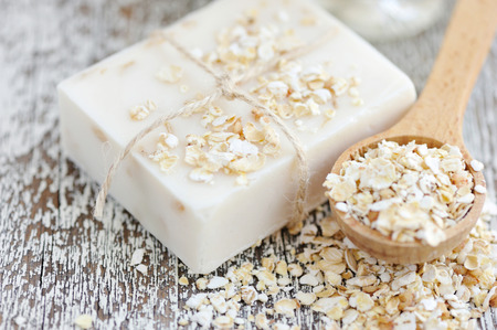 handmade soap: Oatmeal Soap handmade for a natural clean Stock Photo