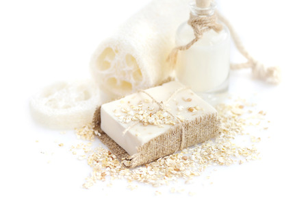 Handmade soap with oatmeal and milk on a white background 스톡 콘텐츠