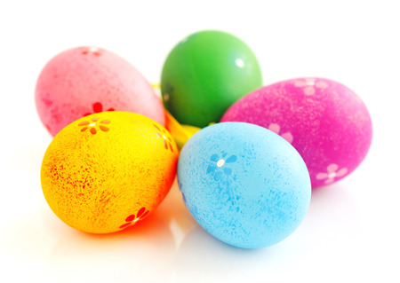 over white background: Colorful easter eggs isolated over white background Stock Photo