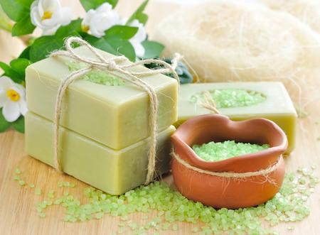 handmade soap: Natural handmade soap and bath salt for aromatherapy