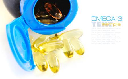 omega3: Omega-3 capsules on white background