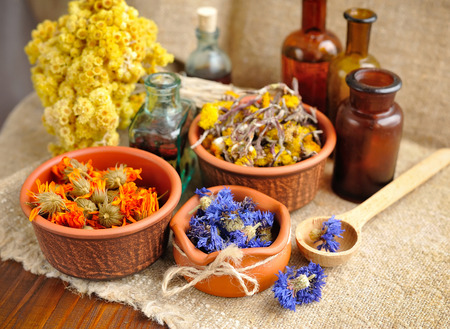 herbal cosmetics: Healing herbs and tinctures in bottles on sackcloth, dried  flowers, herbal medicine