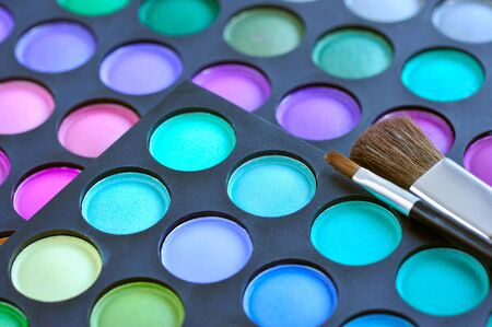 eye shadows: Professional eye shadows palette with makeup brushes. Makeup background