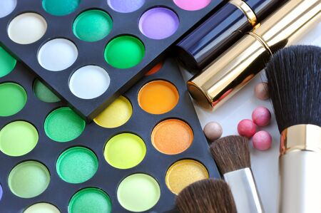 eye shadows: Professional eye shadows palette with makeup brushes and lipsticks