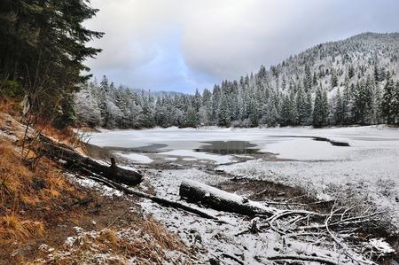 frozen lake: Beautiful landscape with frozen mountain lake Stock Photo