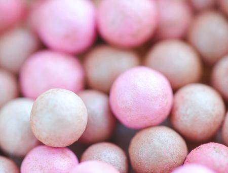 globule: Pink cosmetics rouge balls, macro Stock Photo
