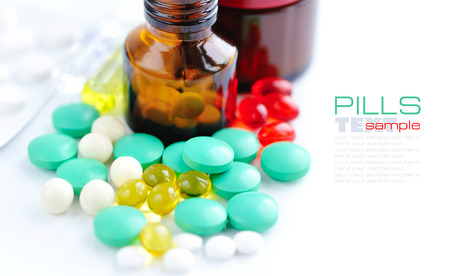 sample text: Color pills and medical bottle (with sample text)