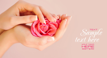 manicure hand: Closeup image of pink french manicure with rose