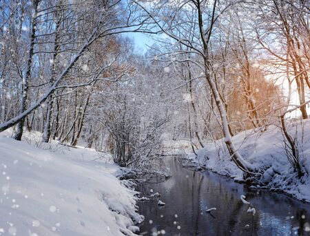 Beautiful winter landscape with the river photo