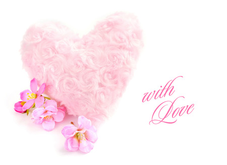 pelage: Fur pink heart with a pink flowers on white background Stock Photo