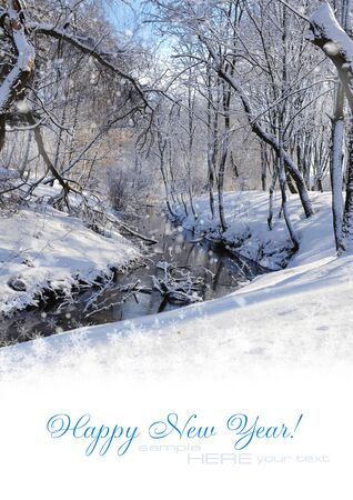 Beautiful winter landscape with space for text photo
