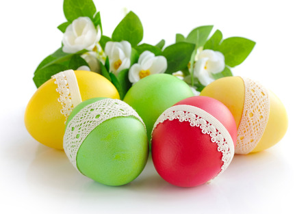 paschal: Colorful easter eggs on white background