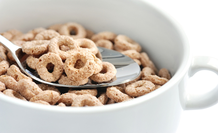 chocolate cereal: Chocolate cereal rings in bowl