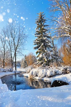 Winter landschap met de rivier in frosty dag