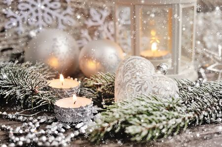 snowflake snow: Christmas composition with candles Stock Photo