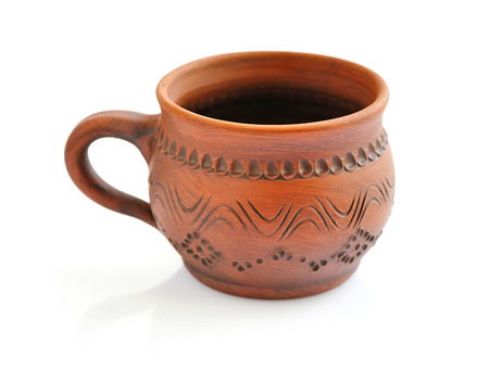 stoneware: Ceramic cup on a white background