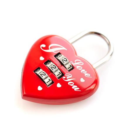 love symbols: Padlock heart-shape on white background