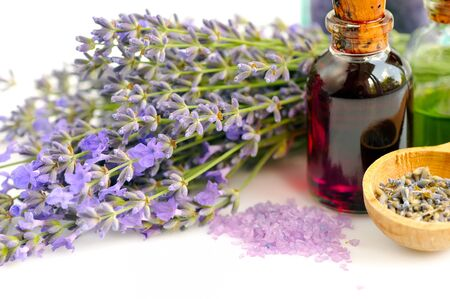 lavender oil: Lavender fresh flowers and lavender oil on white background
