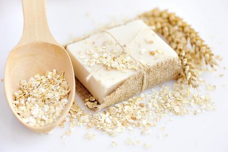 Oatmeal Soap handmade for a natural clean Standard-Bild