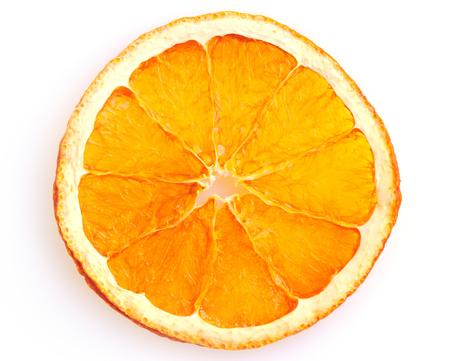 dried orange: Dried orange slice from above on white background