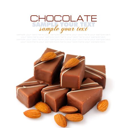 praline: Chocolate praline with almonds on white background