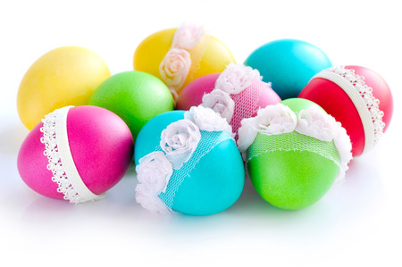 paschal: Colorful Easter Eggs isolated over white background
