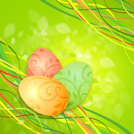 three wishes: Easter eggs on a green spring background