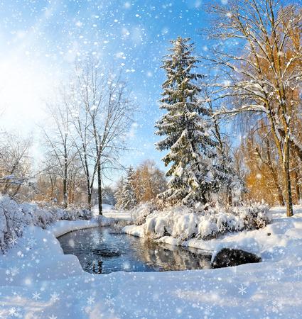 jezior: Zimowy krajobraz z rzeką w mroźny dzień Zdjęcie Seryjne
